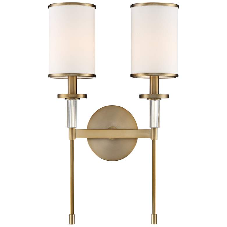 "Crystorama Hatfield 18 1/2""H Aged Brass 2-Light Wall Sconce"