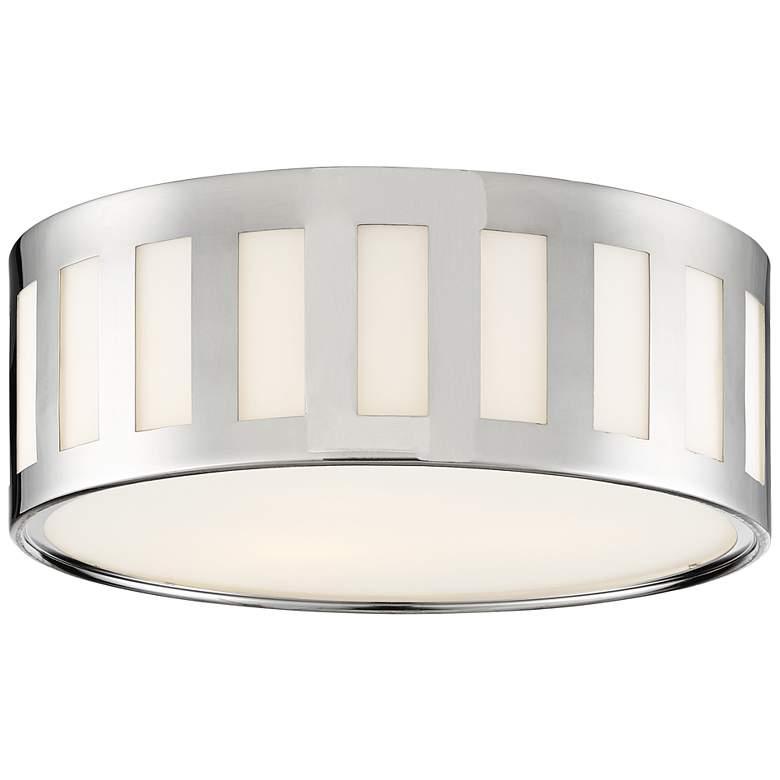 "Crystorama Kendal 14""W Polished Nickel Drum Ceiling Light"