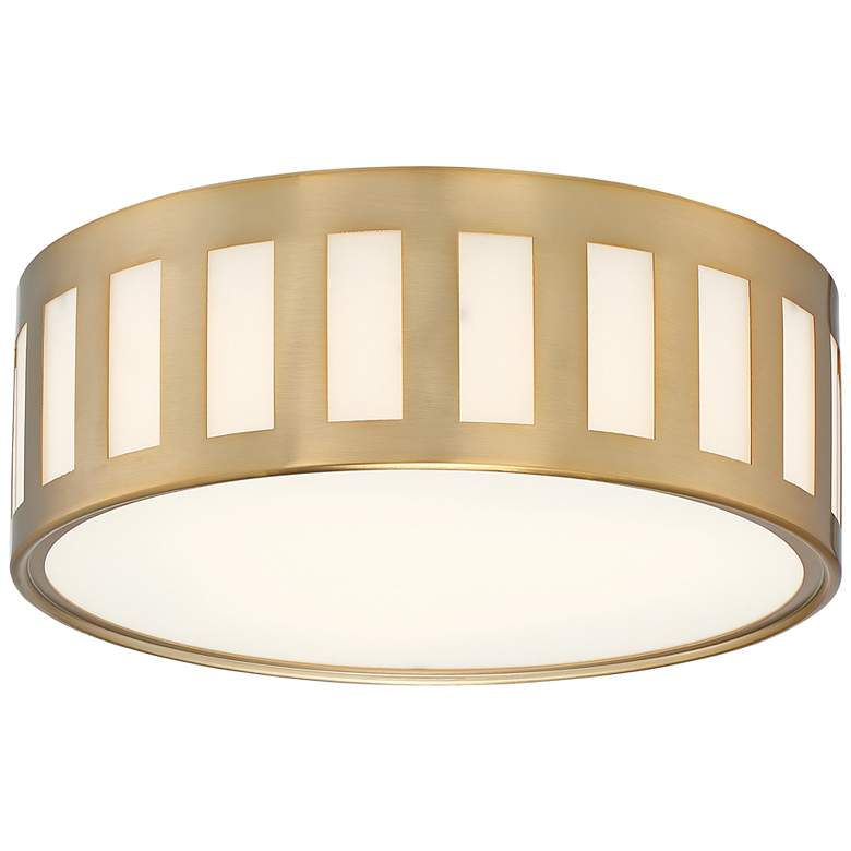 "Crystorama Kendal 14"" Wide Vibrant Gold Drum Ceiling Light"