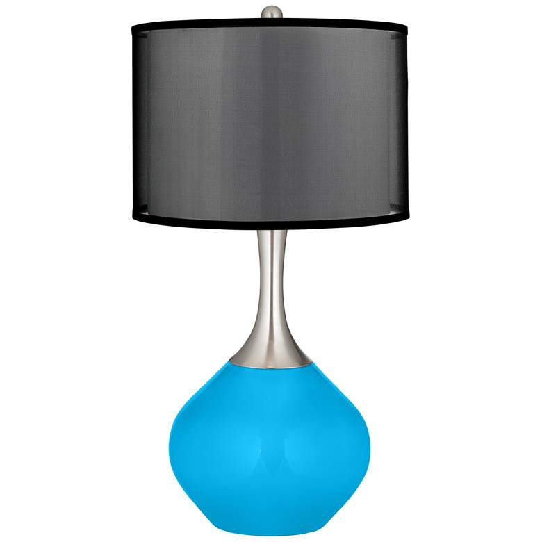 Sky Blue Spencer Table Lamp with Organza Black Shade