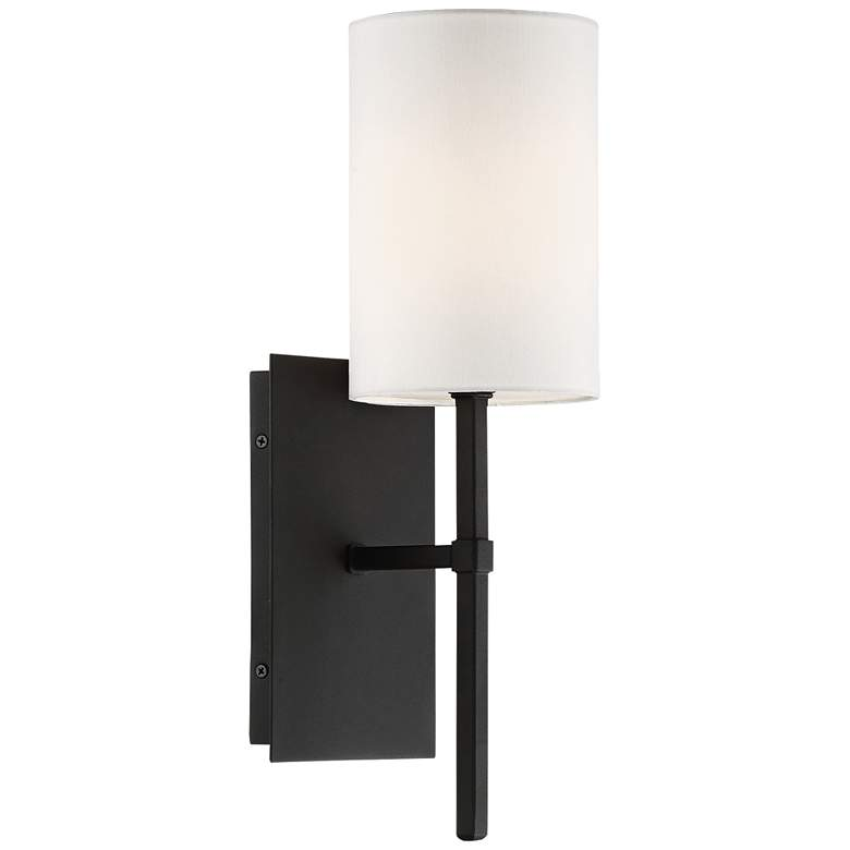 "Crystorama Veronica 16 1/2"" High Black Forged Wall Sconce"