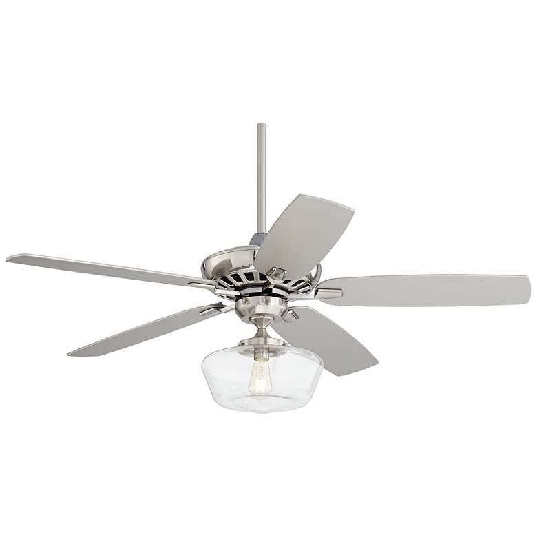 "52"" Journey Brushed Nickel Schoolhouse LED Ceiling Fan"