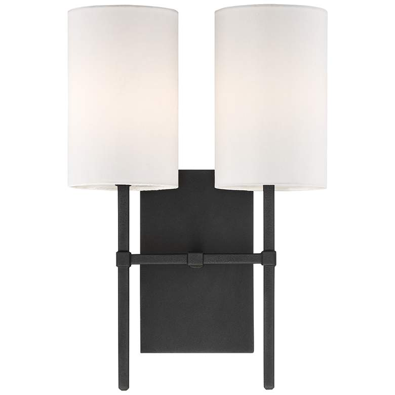 "Veronica 16 1/2"" High Black Forged 2-Light Wall Sconce"