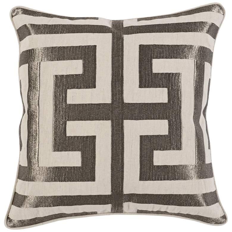 "Stately Platinum 22"" Square Decorative Pillow"