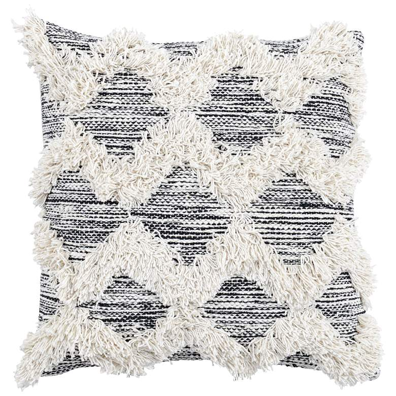 "Melanie Black and Ivory 20"" Square Decorative Pillow"