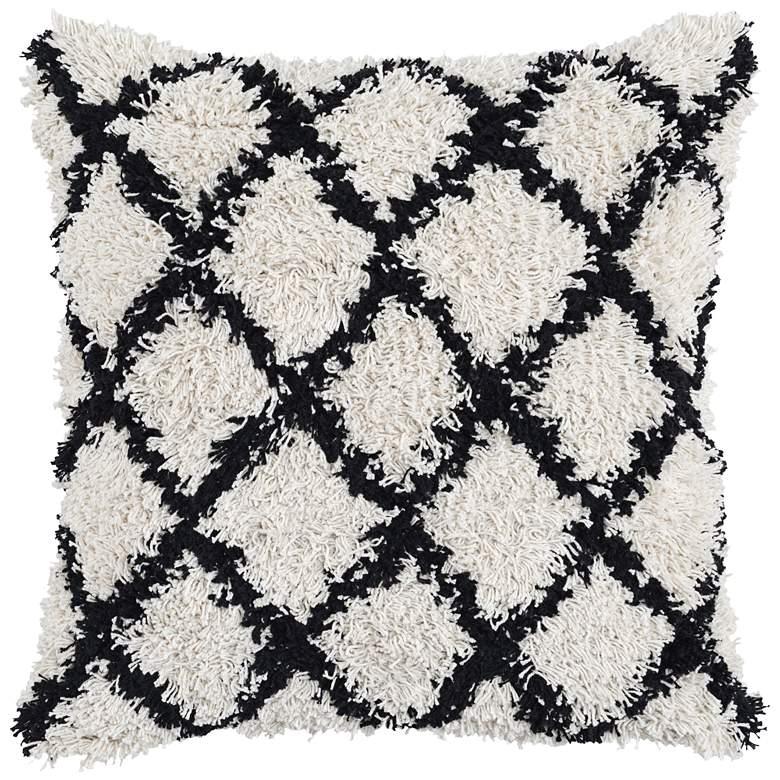 "Barbara Black and Ivory 22"" Square Decorative Pillow"