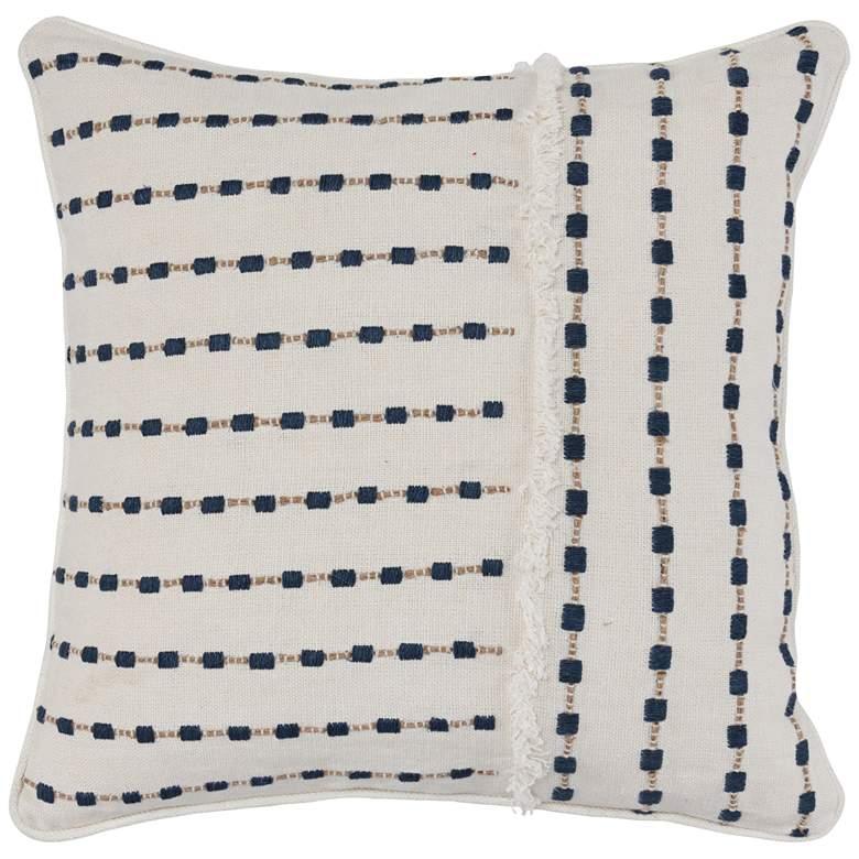 """Catrina Ivory and Navy 20"""" Square Decorative Pillow"""