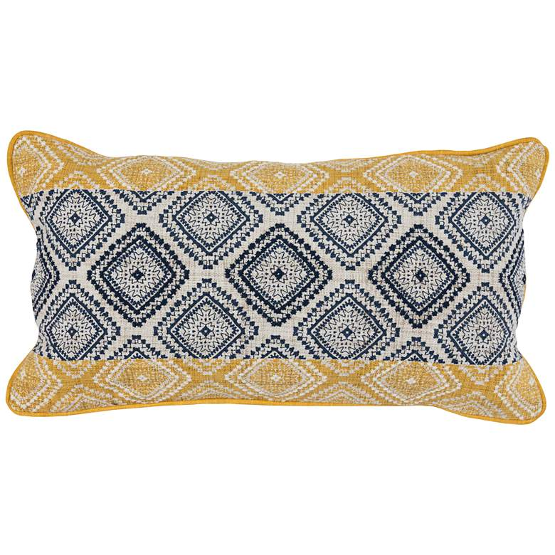 "Florita Sunflower and Navy 26"" x 14"" Decorative Pillow"