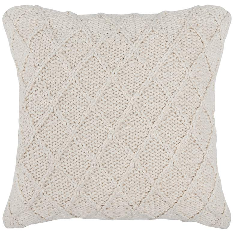 """Channel Ivory 20"""" Square Decorative Pillow"""