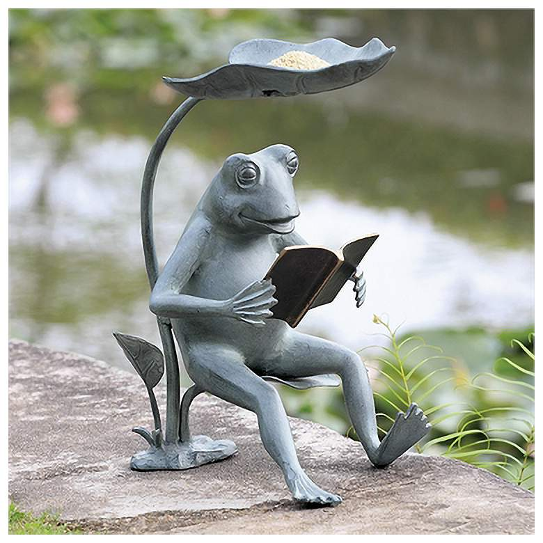"""Reading Frog 18 1/2"""" High Birdfeeder Statue with LED Light"""