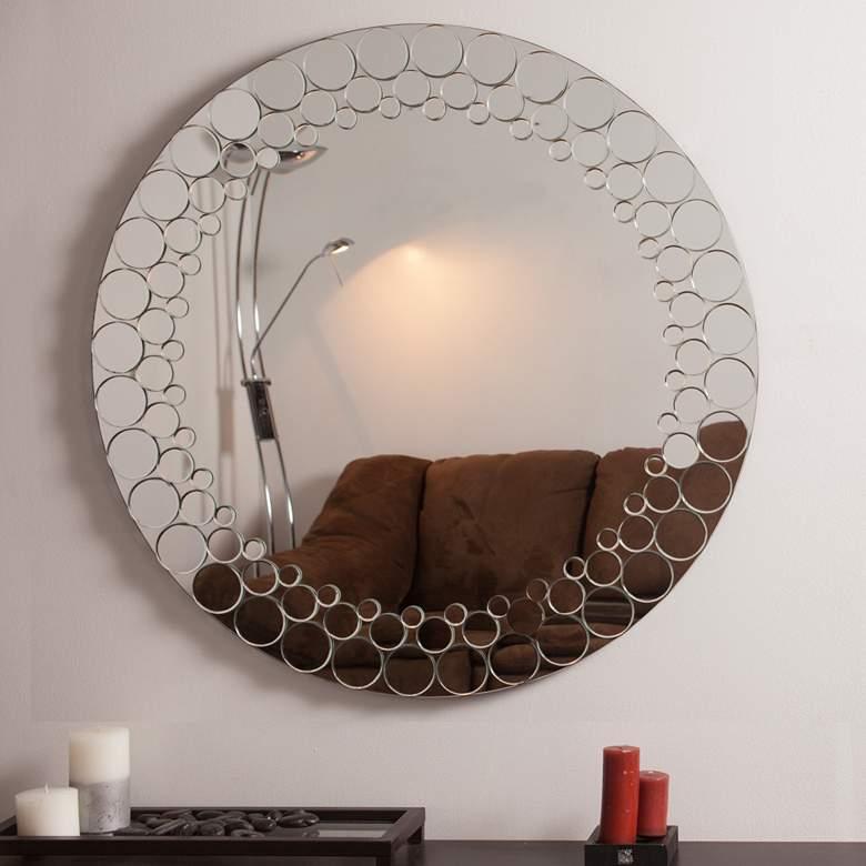 "Circles 35"" Round Frameless Bathroom Wall Mirror"
