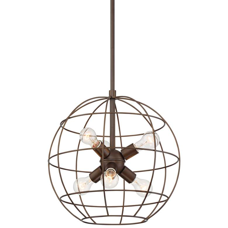 """Lansing 18"""" Wide Oil-Rubbed Bronze 6-Light Orb Cage Pendant"""