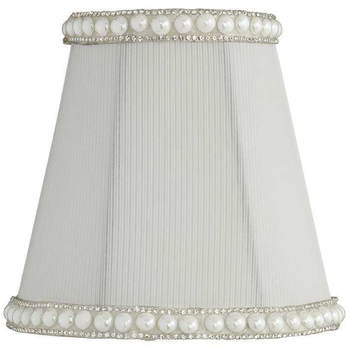 Gull White Round Pearl Trim Lamp Shade