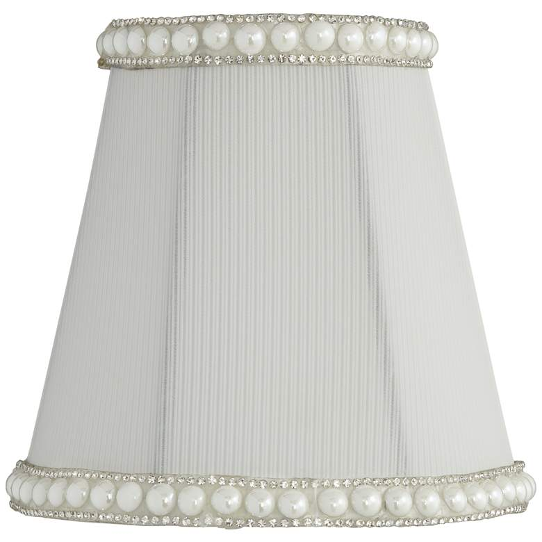 Gull White Round Pearl Trim Lamp Shade 3x5x5 (Clip-On)