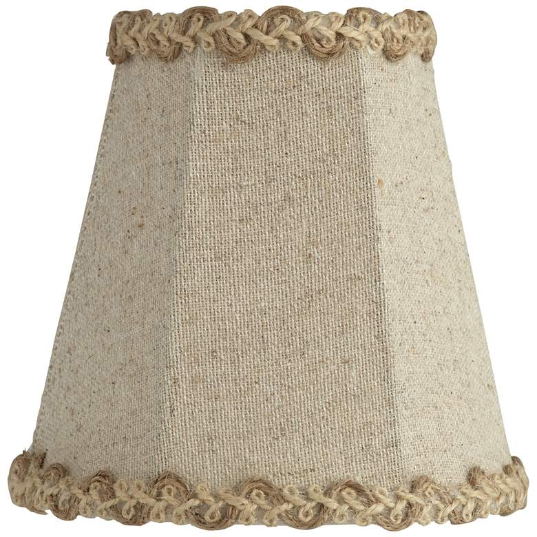 Natural Linen Braided Trim Lamp Shade 3x5x5 (Clip-On)