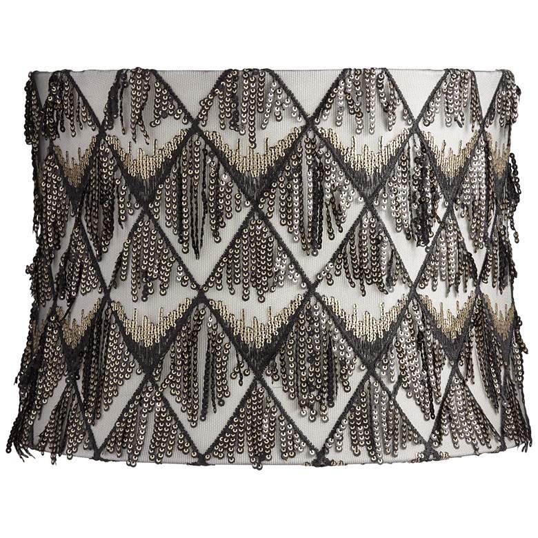 Black and Cream Sequin Drum Lamp Shade 13x14x10