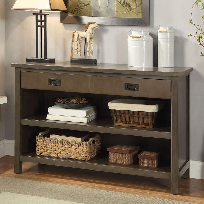 "Asteris 46 3/4"" Wide Gray Oak 2-Drawer Wood Console Table"