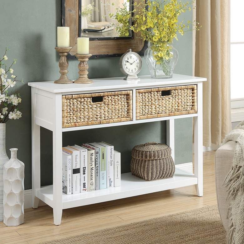 """Flavius 44"""" Wide White 2-Drawer Wood Console Table"""