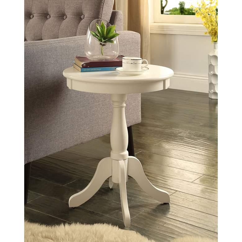 "Alger 18"" Wide White Round Pedestal Wood Side Table"