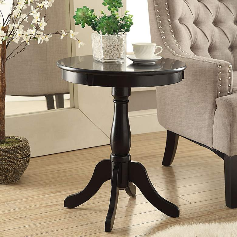 Sensational Alger 18 Wide Black Round Pedestal Wood Side Table Ocoug Best Dining Table And Chair Ideas Images Ocougorg