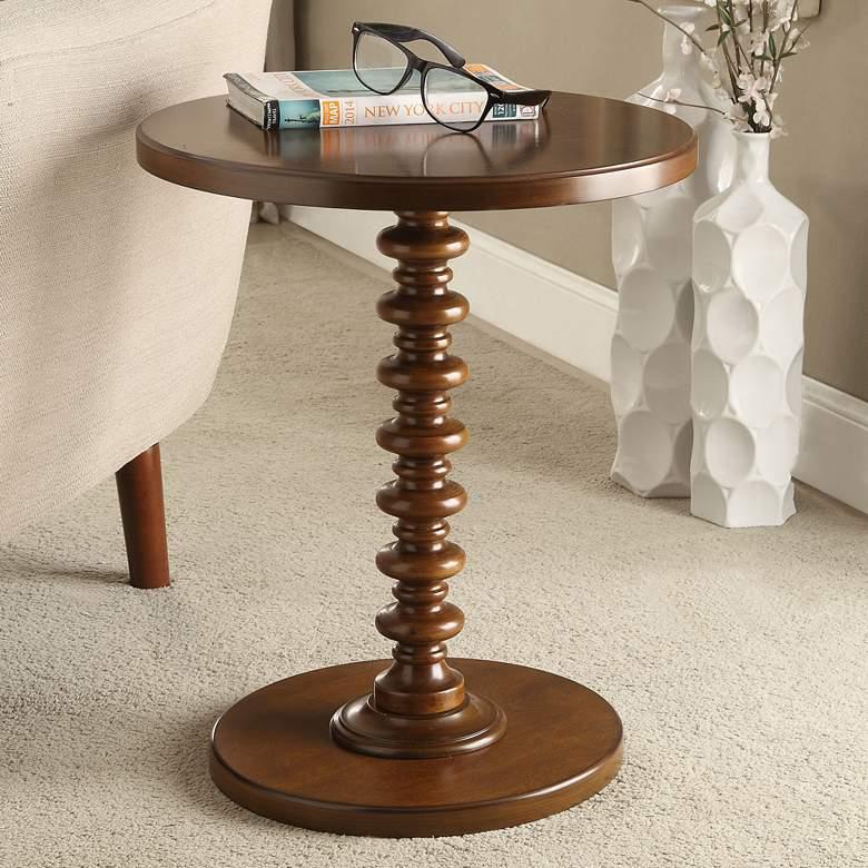 Acton 17 Wide Walnut Round Pedestal Wood Side Table