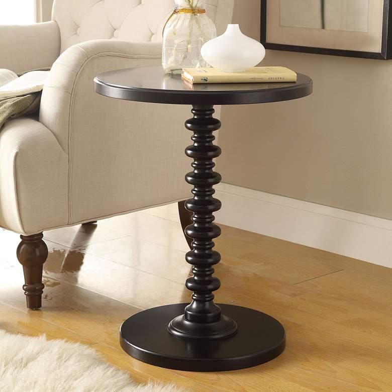 "Acton 17"" Wide Black Round Pedestal Wood Side Table"