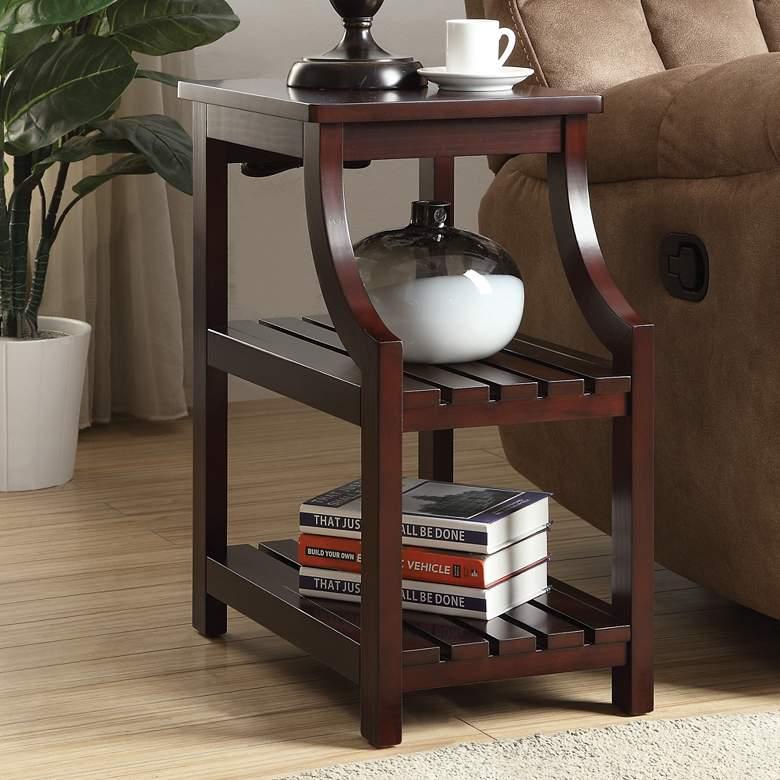 "Wasaki 20"" Wide Espresso 2-Shelf Wood Side Table"