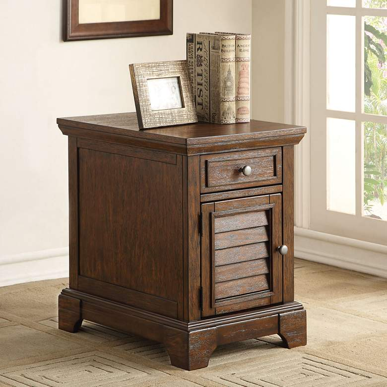 """Evrard 23 3/4"""" Wide Dark Oak 1-Drawer 1-Cabinet End Table"""
