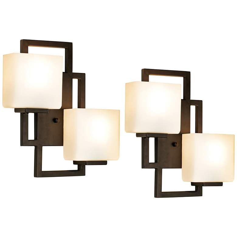 Lighting on the Square High Bronze Wall Sconces Set of 2