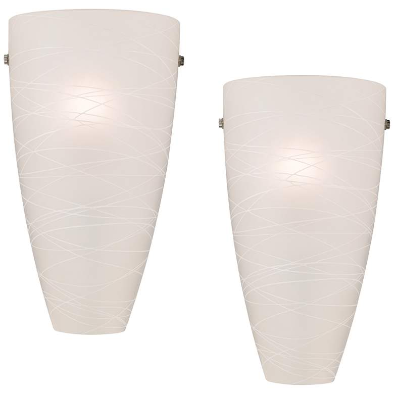 """Isola 13 1/4"""" High White Striped Glass Wall Sconces Set of 2"""