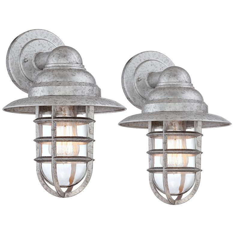 Marlowe Galvanized Hooded Cage Outdoor Wall Lights Set of 2