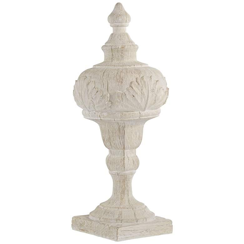 "Matte Cream 16"" High Faux Wood Table Top Sculpture"