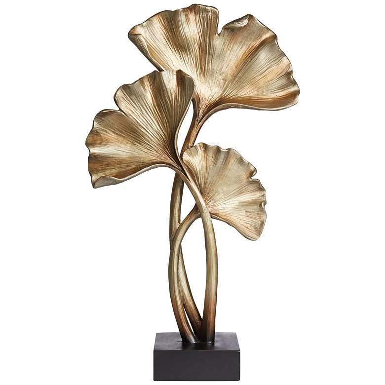 """Matte Copper 21"""" High Ginkgo Leaves Sculpture"""