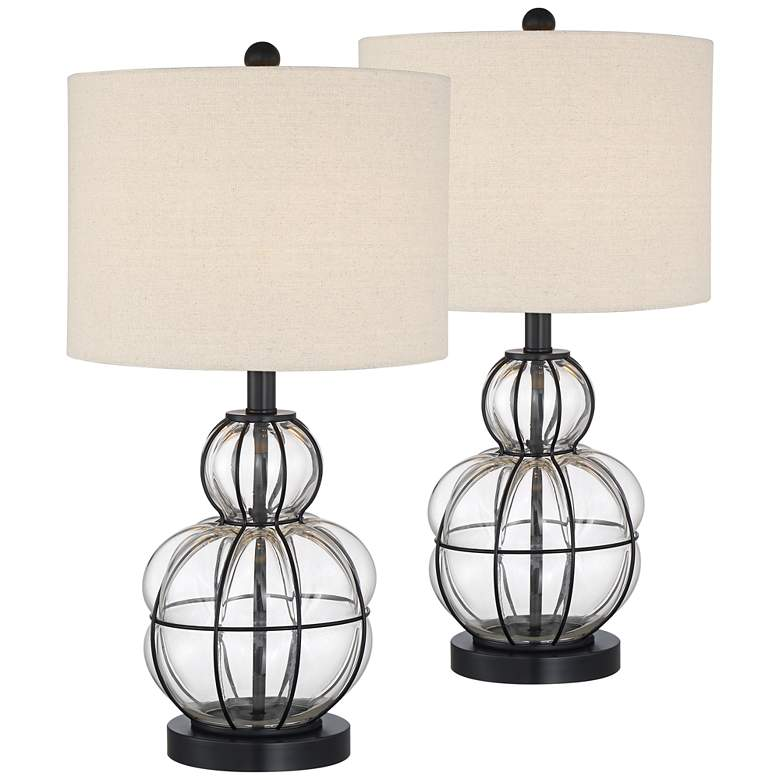Eric Blown Glass Gourd Table Lamps Set of