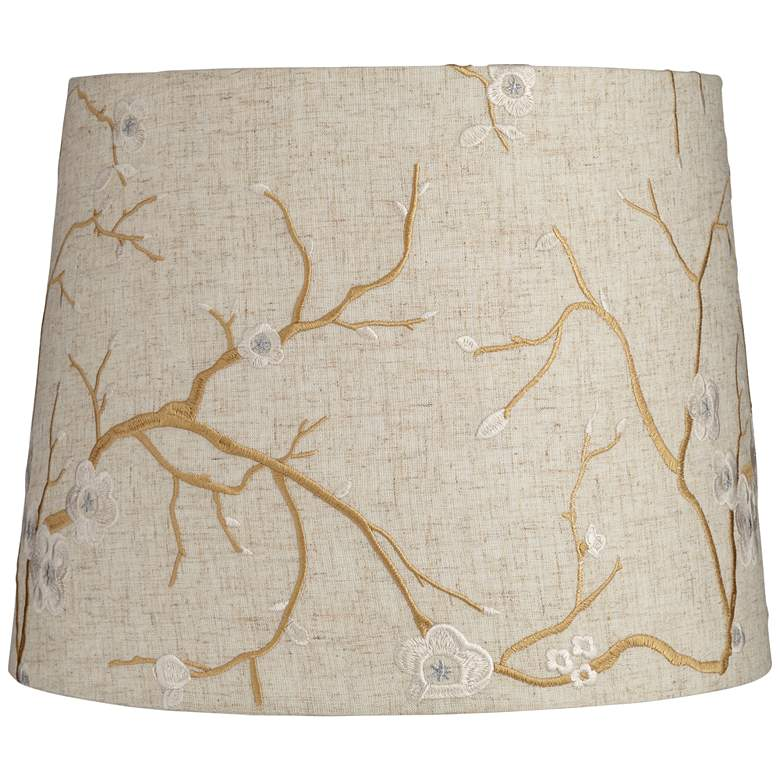 Beige Plum Flower Embroidery Drum Shade 12x14x11 (Spider)