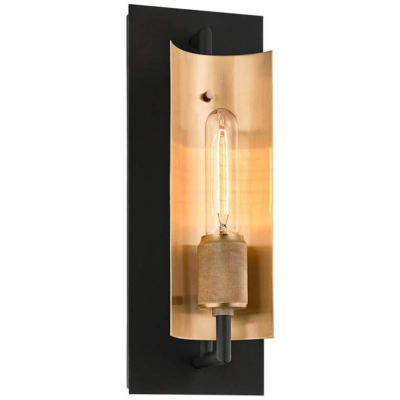 """Emerson 14 1/4""""H Carbide Black and Brushed Brass Wall Sconce"""