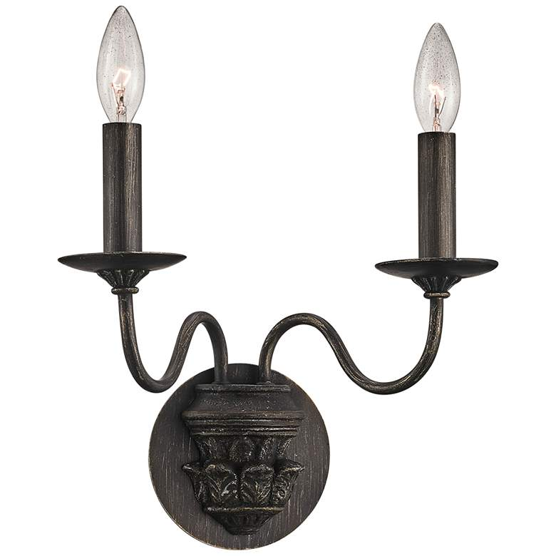 """Poppy Hill 14"""" High Pompeii Silver 2-Light Wall Sconce"""