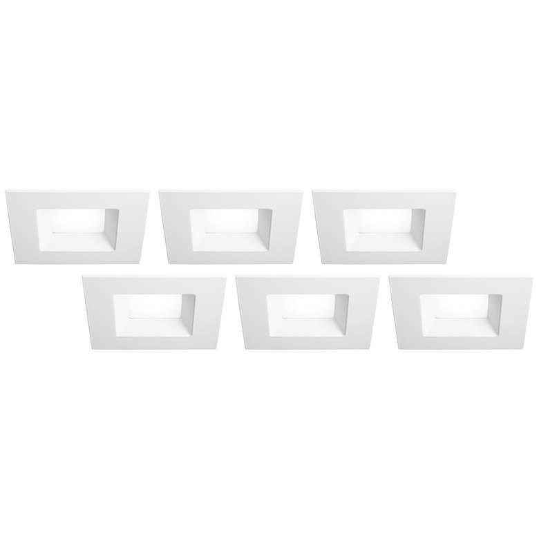 "6"" White Square Retrofit 15 Watt LED Recessed Lights 6-Pack"