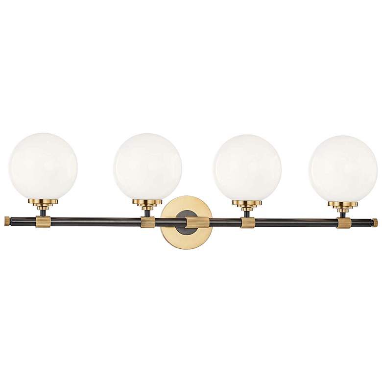 """Bowery 32 3/4"""" Wide Aged Old Bronze 4-Light"""