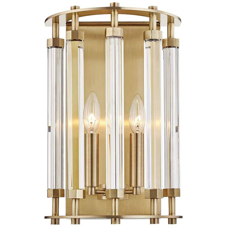 """Hudson Valley Haddon 15 1/2"""" High Aged Brass Wall Sconce"""