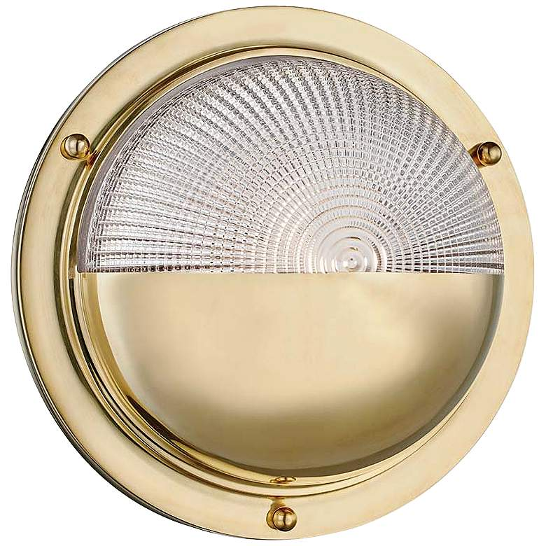 """Hudson Valley Hughes 10 1/2"""" High Aged Brass LED Wall Sconce"""