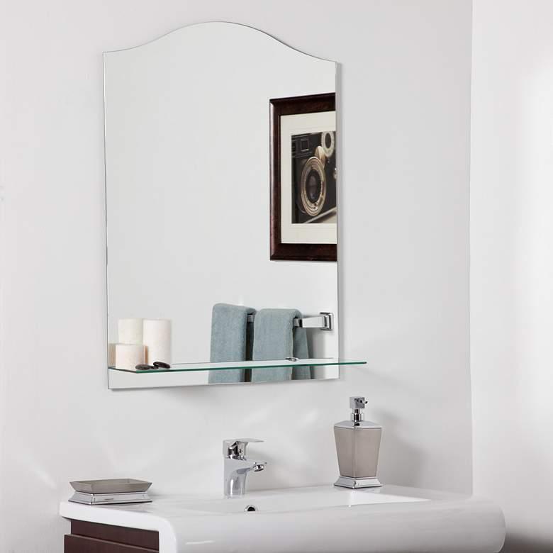 """Abigail 23 1/2"""" x 31 1/2"""" Frameless Wall Mirror with Shelf"""