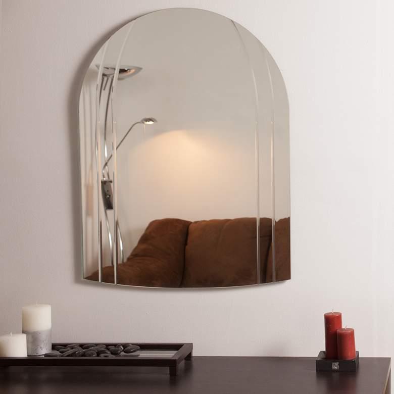 "Serina 23 1/2"" x 31 1/2"" Arch Frameless Bathroom Wall Mirror"