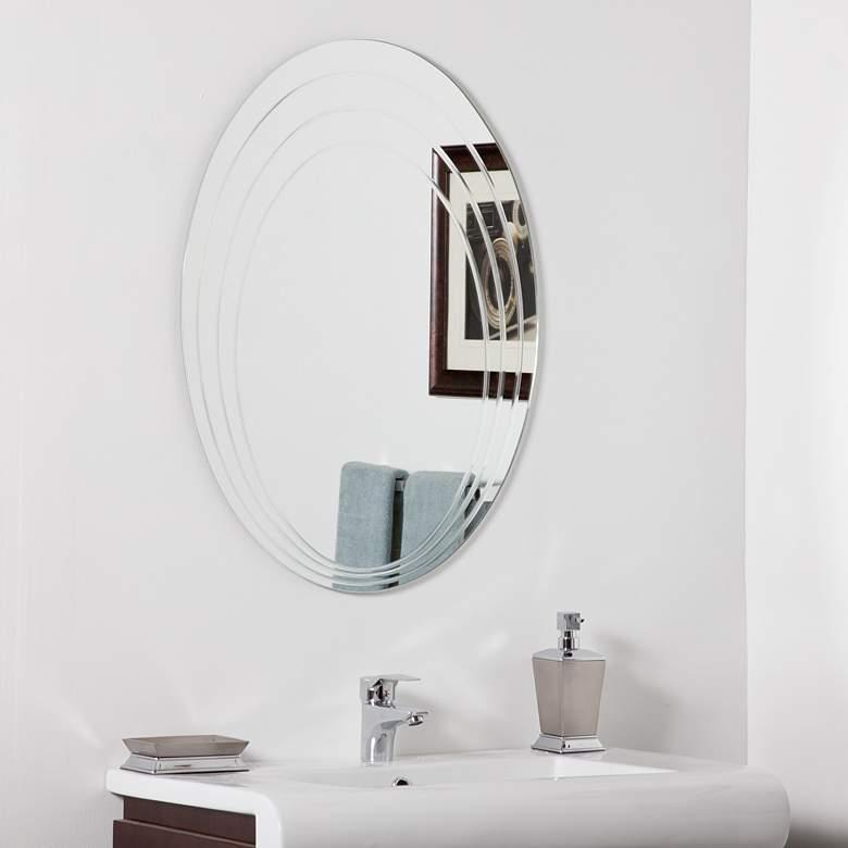 """Hanna 23 1/2"""" x 31 1/2"""" Oval Frameless Bathroom Wall Mirror"""
