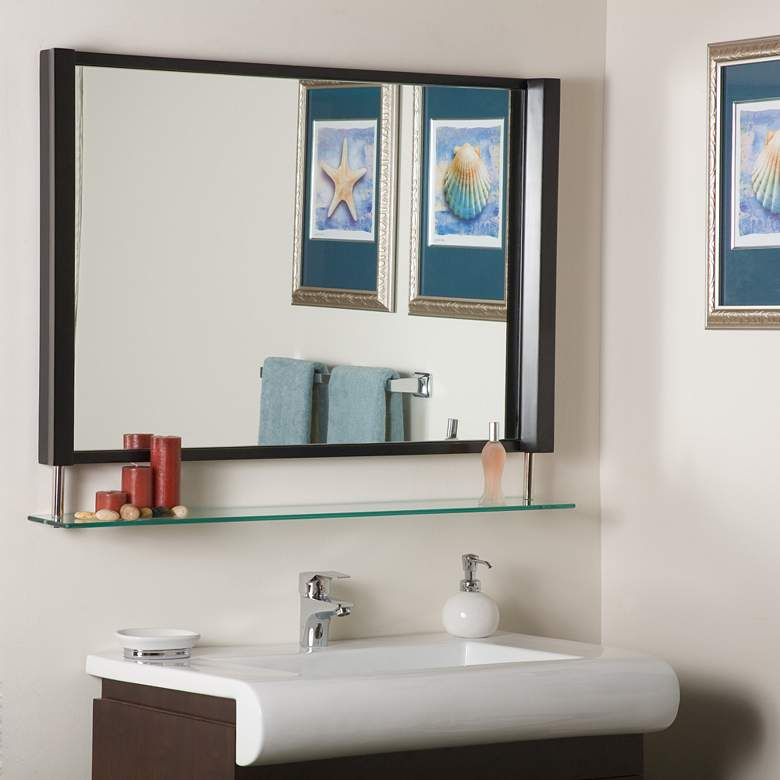 """New Amsterdam Brown 39 1/2"""" x 23 1/2"""" Wall Mirror with Shelf"""