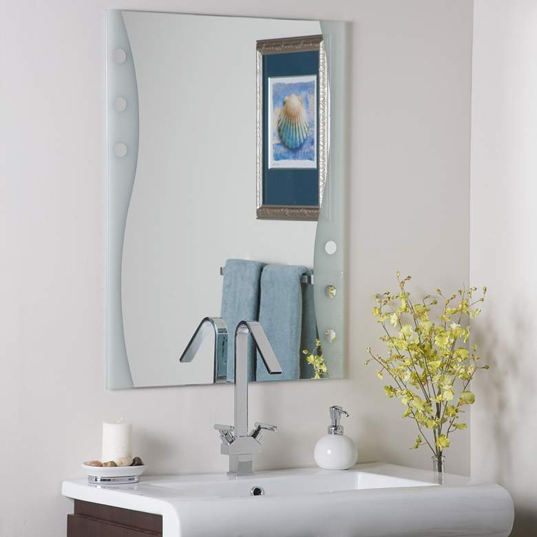 """Frameless Maritime 23 1/2"""" x 31 1/2"""" Etched Wall Mirror"""