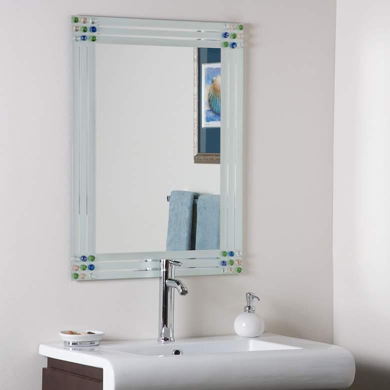 "Bejeweled 23 1/2"" x 31 1/2"" Frameless Bathroom Wall Mirror"