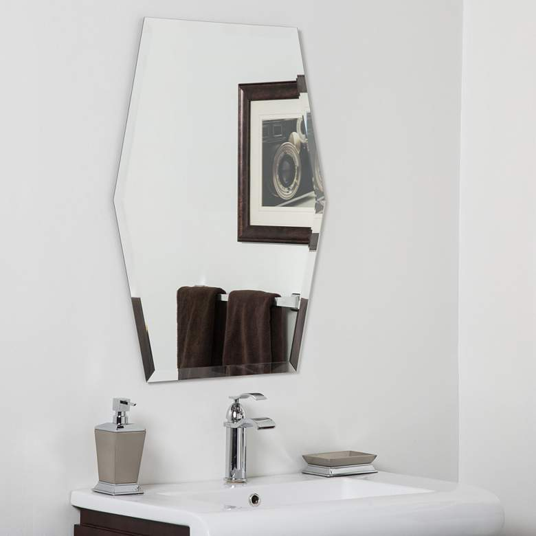 "Century 23"" x 31"" Hexagon Frameless Bathroom Wall Mirror"
