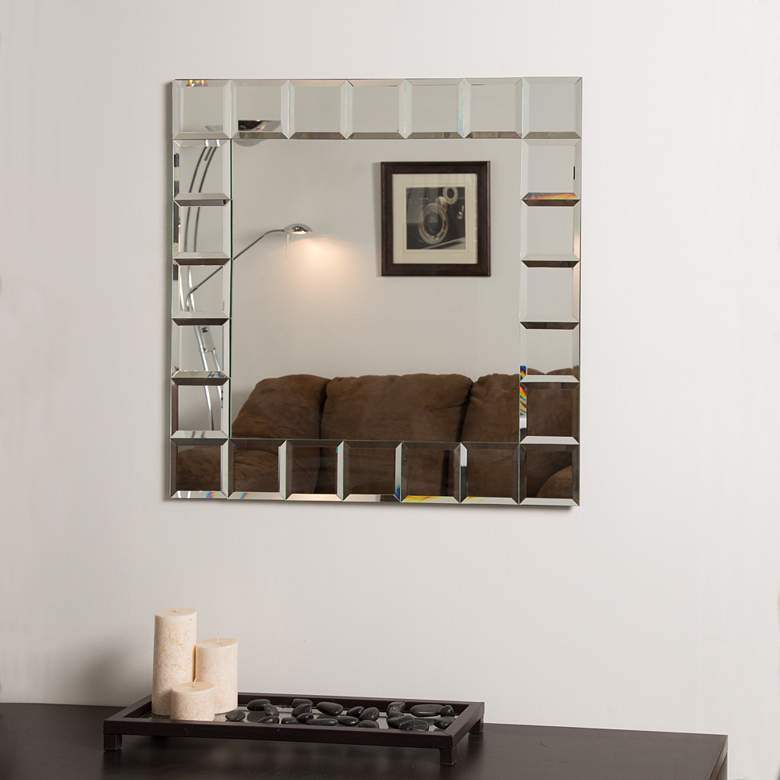 """Montreal 27 1/2"""" Square Frameless Bathroom Wall Mirror"""