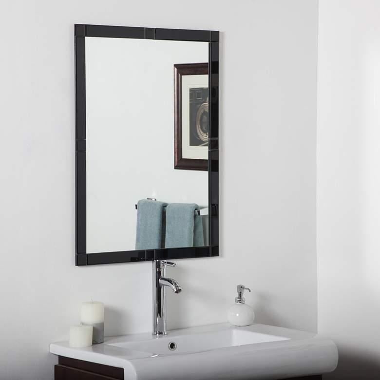 """Kinana Black 23 1/2"""" x 31 1/2"""" Frameless Beveled Wall Mirror"""